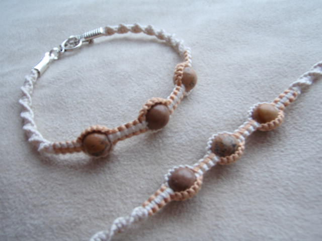 Cream And Fawn Macrame Bracelet With Picture Jasper
