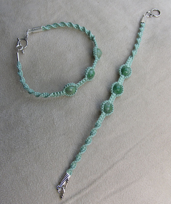Jade Green Macrame Bracelet With Chinese Jade Gemstones