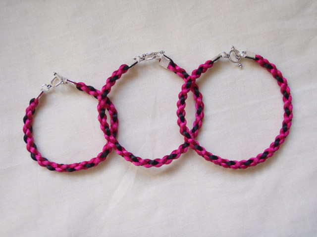 Pink And Black Square Braid Bracelet