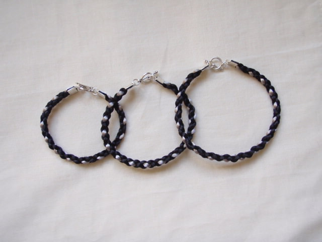 Black And Silver Square Braid Bracelet
