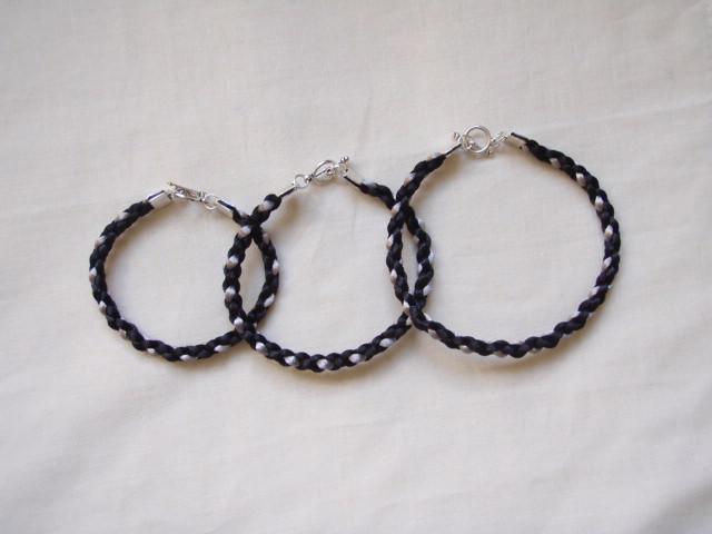 Black And Silver Square Braid Bracelet