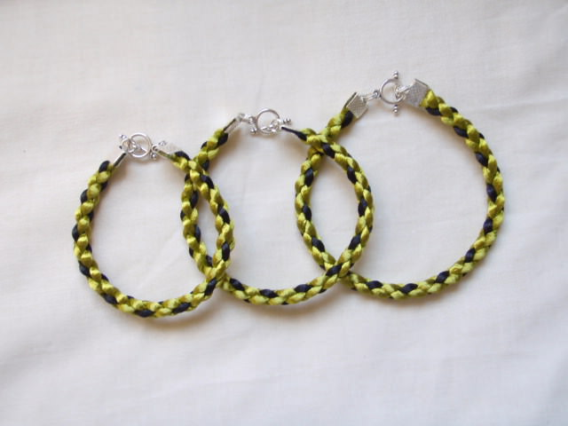 Avocado And Black Square Braid Bracelet