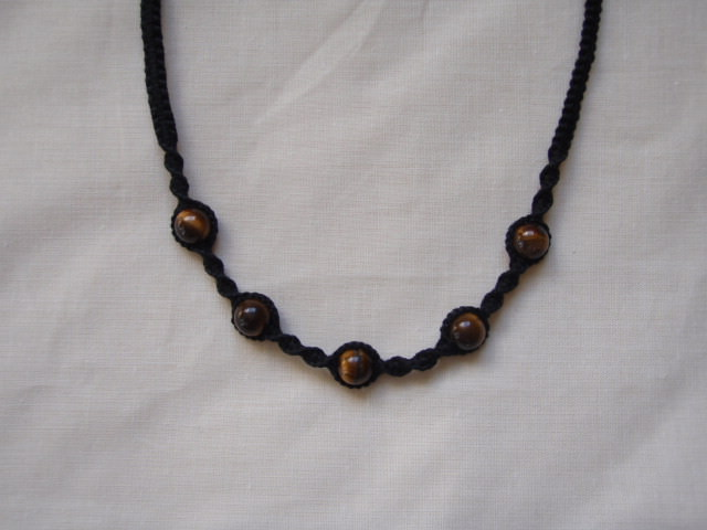 SOLD - Black Macrame Necklace With Tigers Eye Gemstone Beads