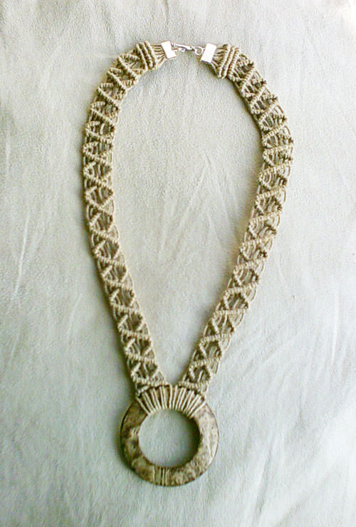 Hemp Macrame Necklace With A Coconut Shell Pendant