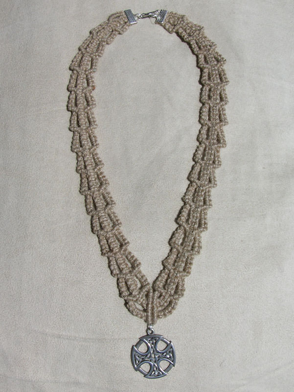 SOLD - Hemp Macrame Necklace With A Pewter Celtic Cross Pendant